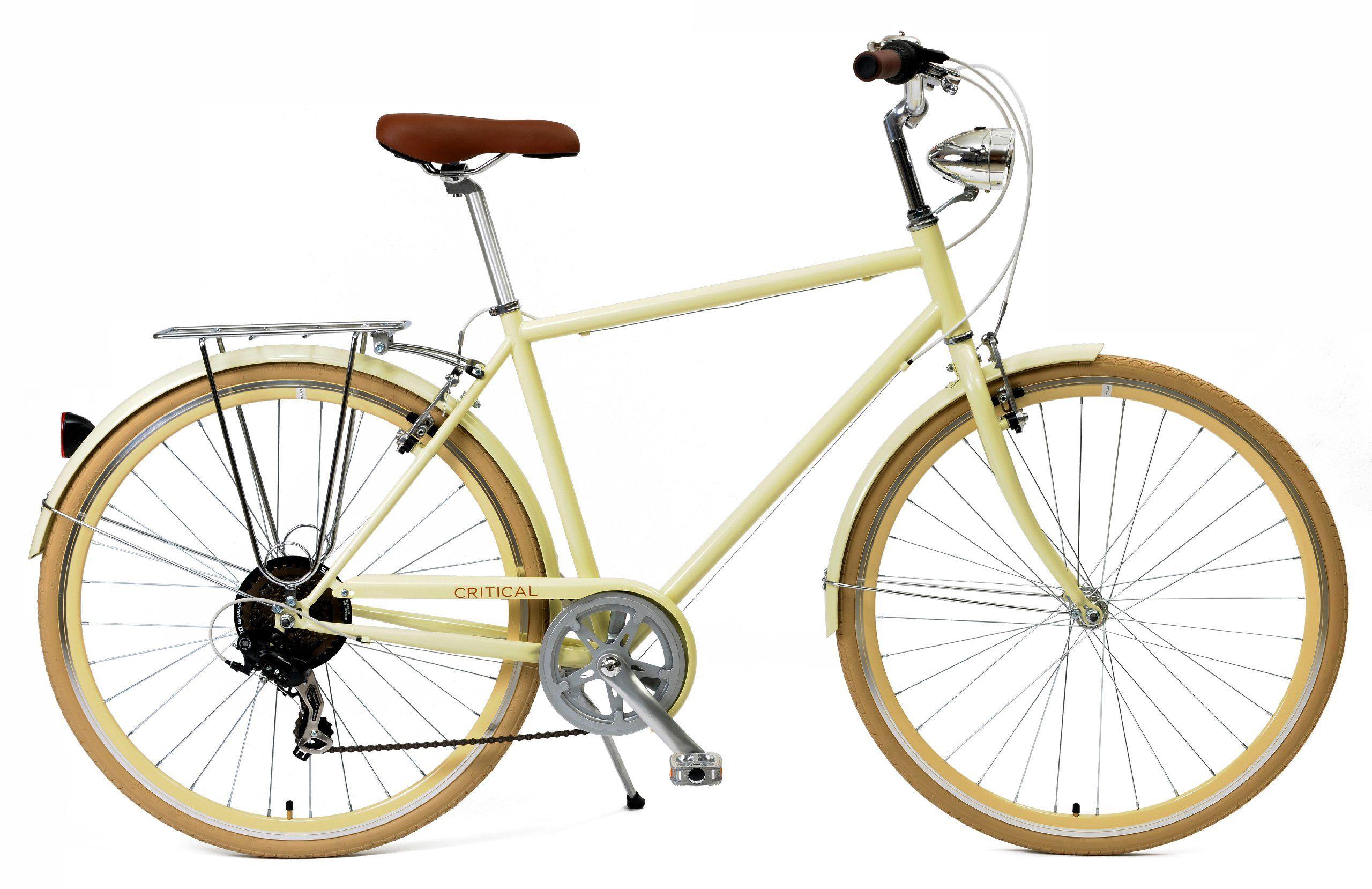Critical Cycles Diamond Frame 7 Speed Shimano Hybrid Urban Commuter Road Bicycle Cream Small 50cm Bicycle Speed Bike Urban Bike