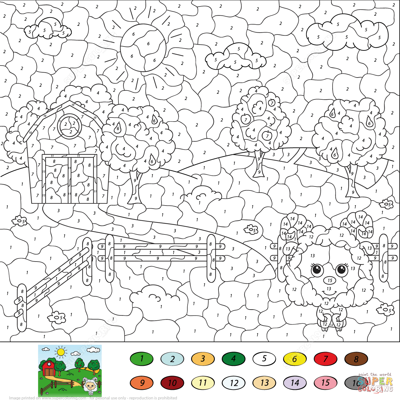 Rural Landscape Color Number Printable Coloring Pages Click