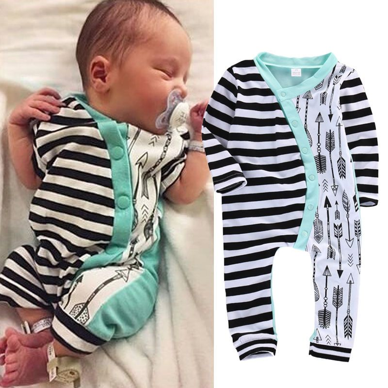 b714e83a3 Infant Baby Girl Boy Clothes Rompers Long Sleeve Stripe Cute Romper ...