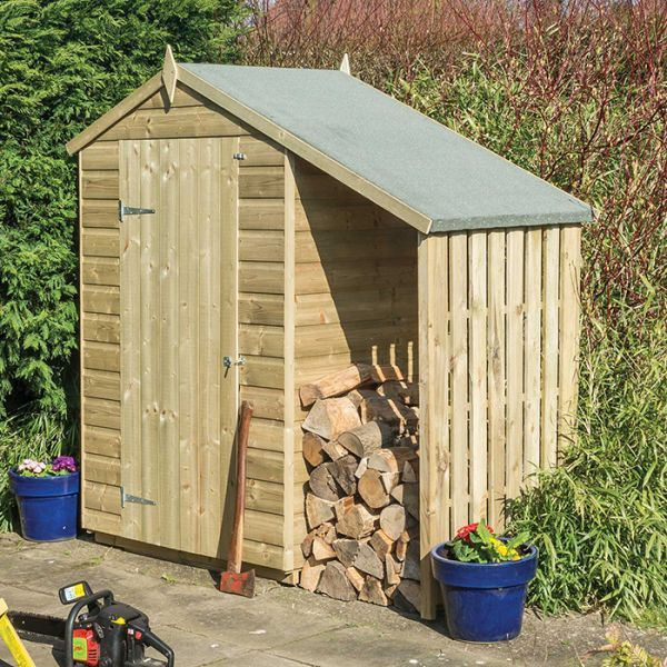 rowlinson 4 x 3 pressure treated shiplap apex shed with lean to shiplap