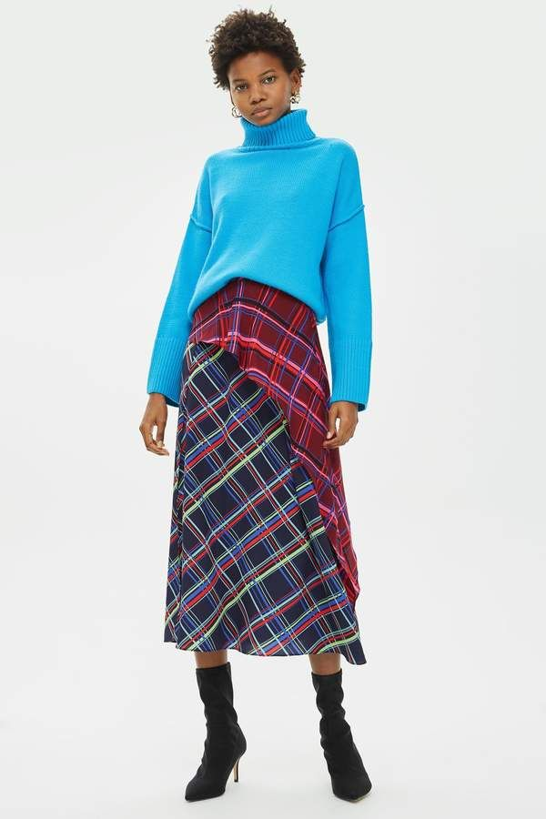 fdc60843a7 Mixed Check Midi Skirt in 2019 | Products | Midi skirt, Skirts ...