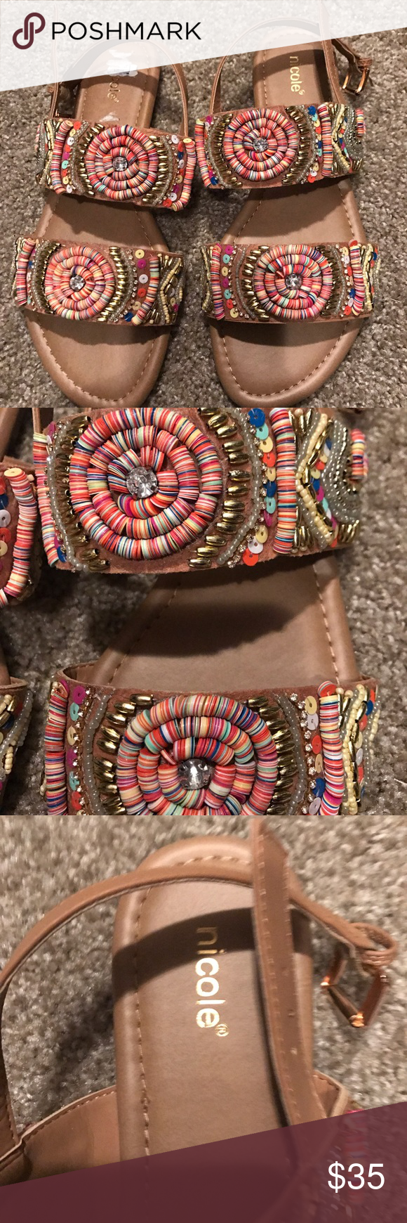 Beaded Sandals Brand new, never worn, gorgeous beaded detailed sandals! nicole Shoes Sandals