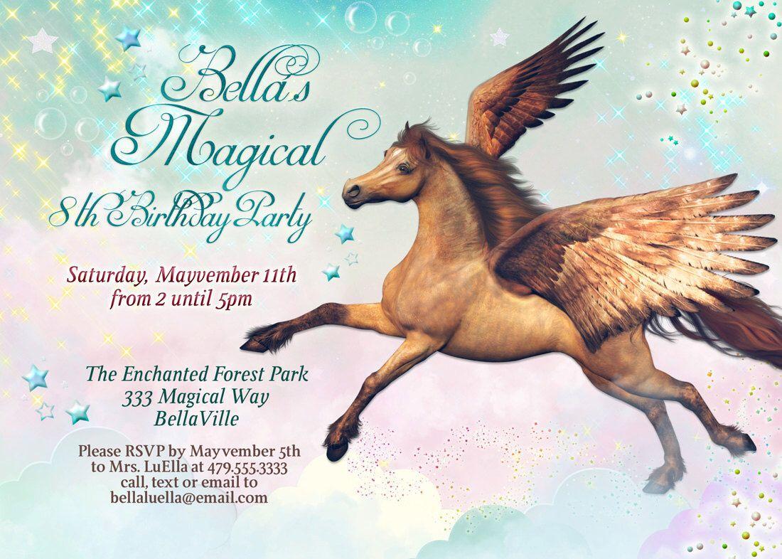 Pegasus Party, Horse Birthday Party Invitation, Pegasus ...