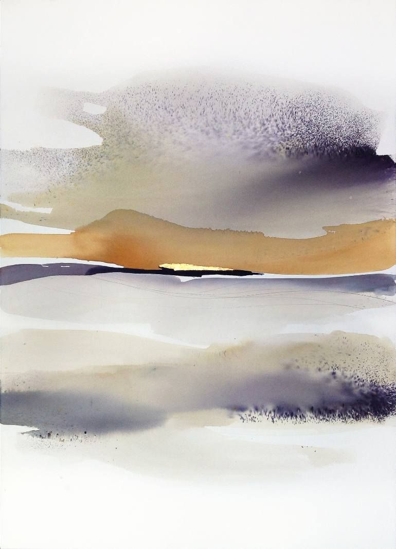 In The Morning Large Watercolor Landscape An Ink Painting