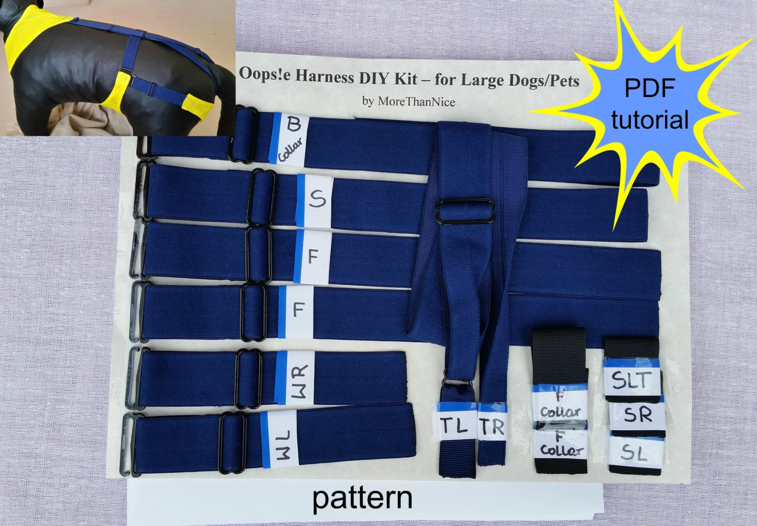Dog Diaper Harness Diy Kit For Large Dogs In Heat Or With Pee