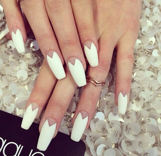 Fall 2014 Nail Trend: Matte Nails   Coffin nails, White coffin nails ...