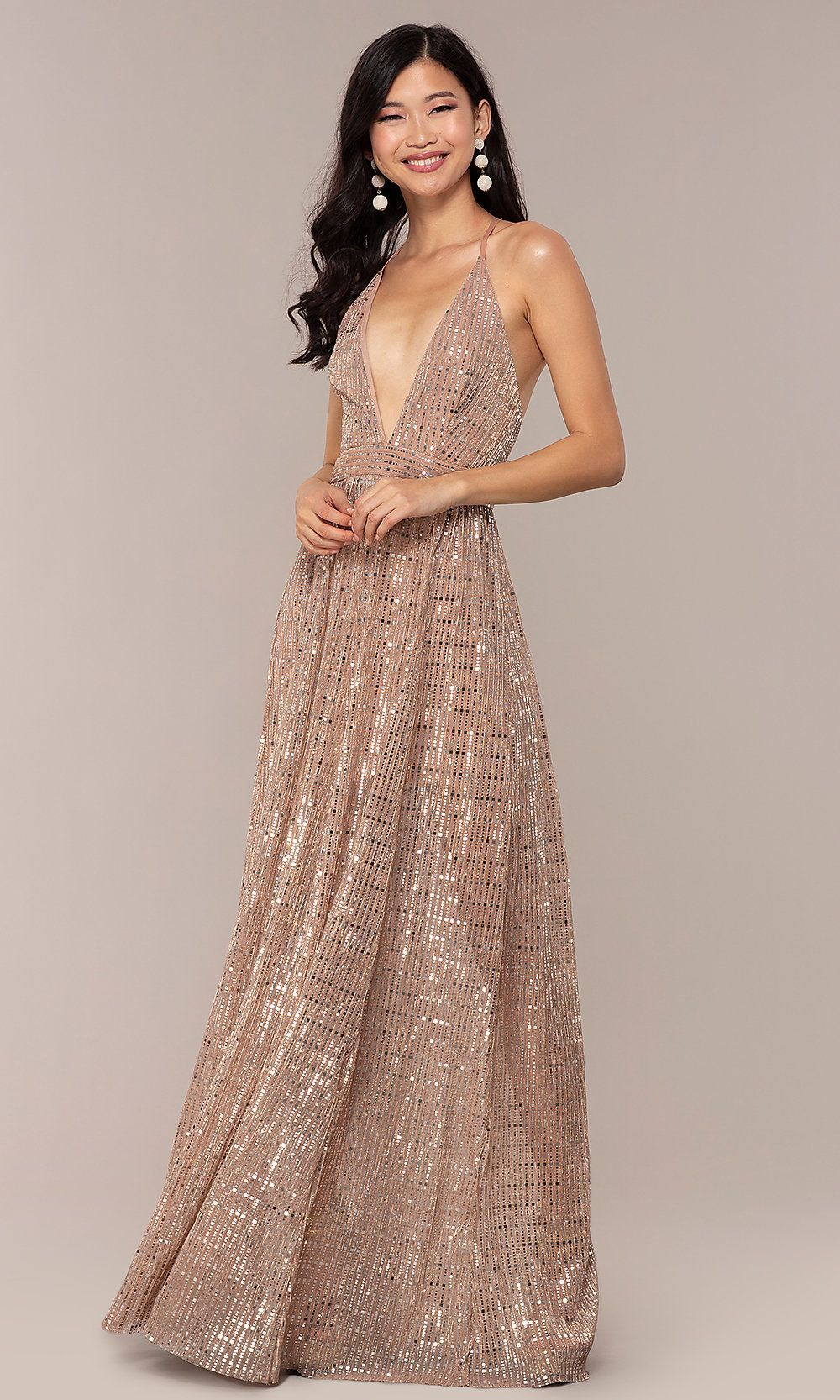 cd131003b86 Metallic Sequin Open-Back Long V-Neck Prom Dress in 2019