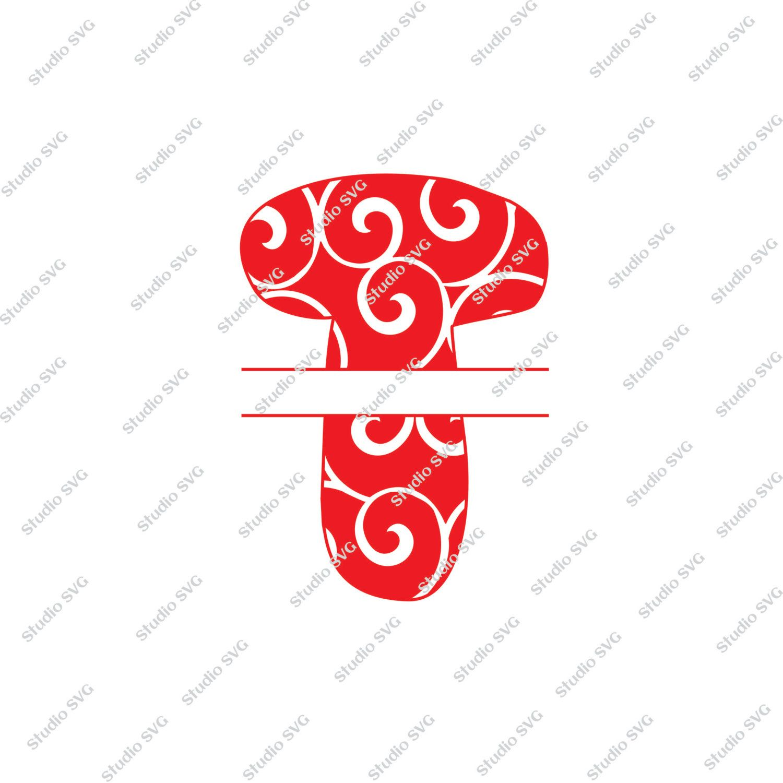 Digital Cut File, Split Vine Letters - Letter T,  T, Split T,  Monogram, Vinyl Cutting File, SVG - DXF - EPS - Silhouette, Cricut by StudioSVG on Etsy