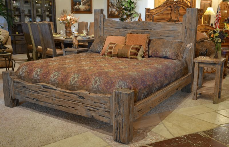 Rustic King Bed Custom Western Style Wood Brs178a