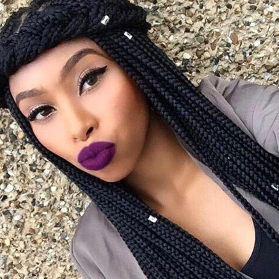 Box braids and cute lippie | Long hair styles, Hair styles ...