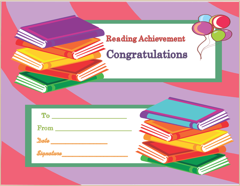Reading Achievement Award Certificate Template  Award Certificate