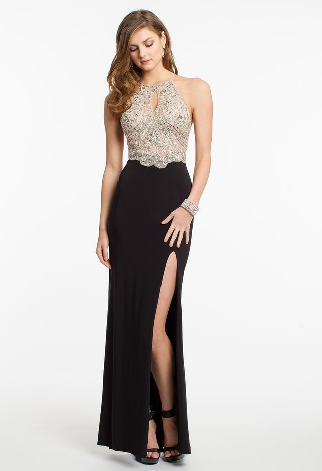 Beaded Illusion Bodice Halter Dress from Camille La Vie and Group ...