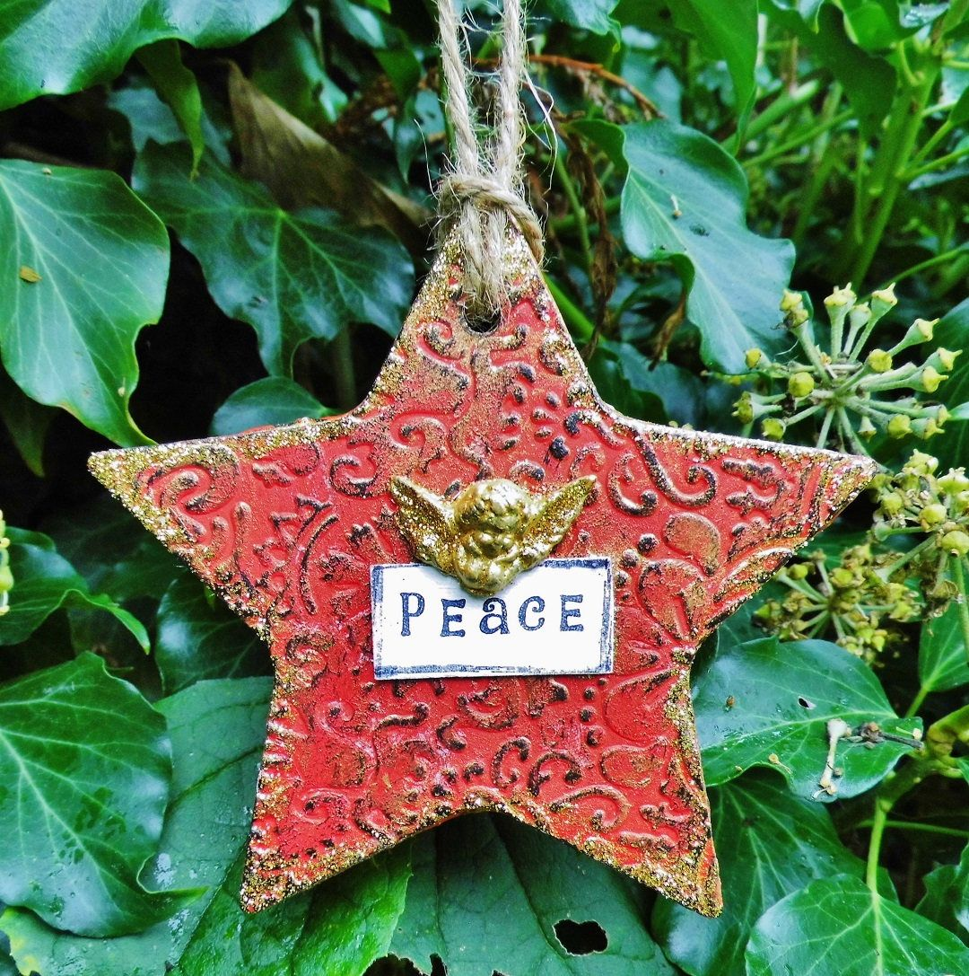 Gold and Red Star Christmas Angel Peace Ornament Christmas