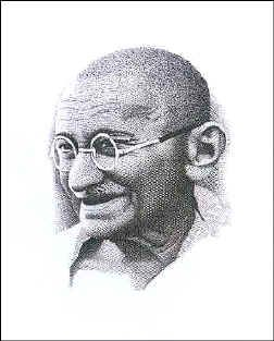 Slania's Gandhi-engraving, scanned from an image of Jerzy Krysiak's exhibition catalogue in the Postal Museum in Wroclaw (Poland).