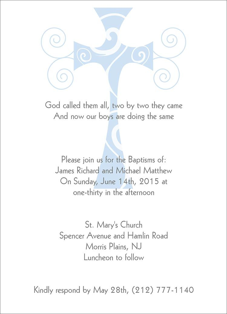 baptism invitations in spanish Baptism - Christening Invitation - sample baptismal invitation for twins
