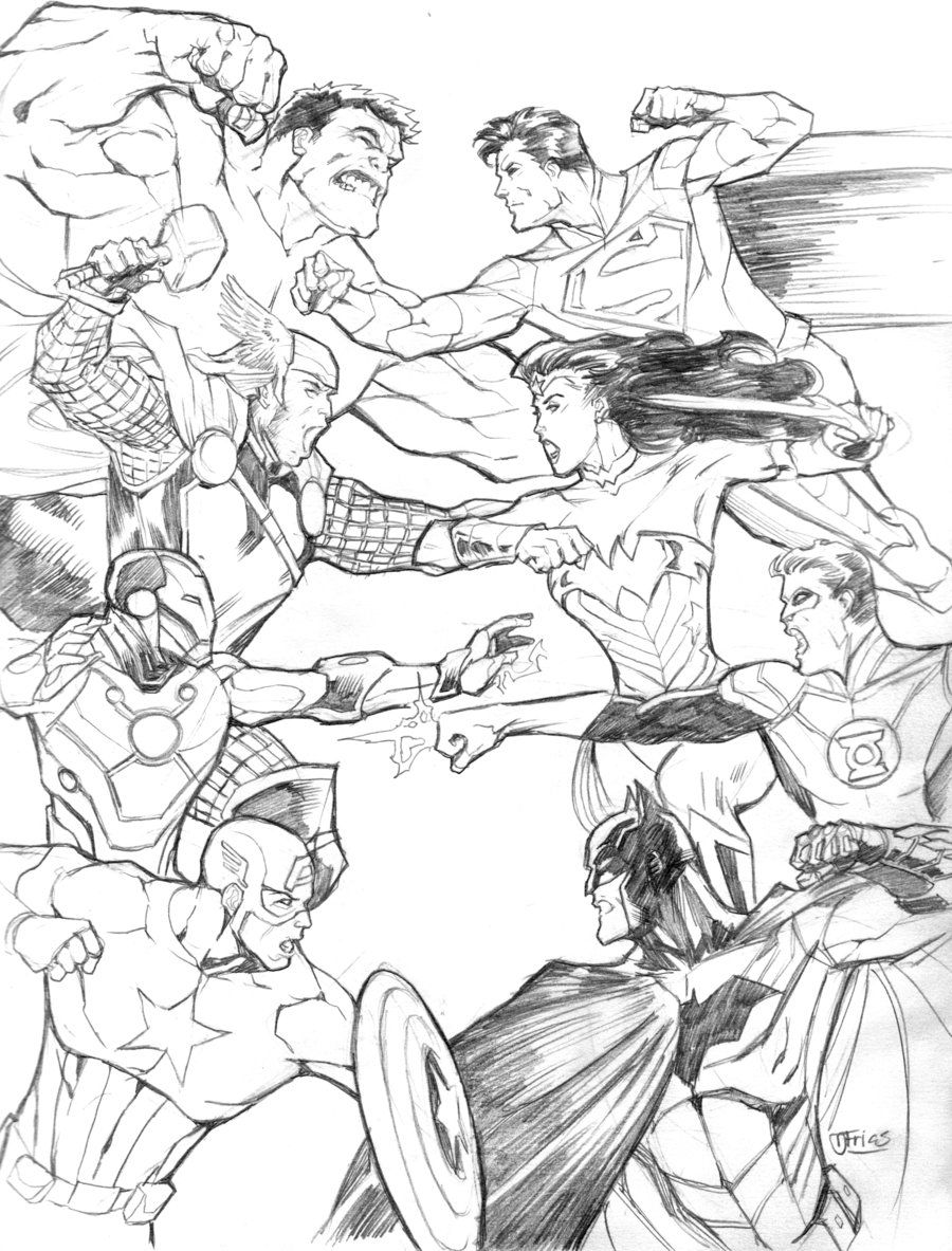 Avengers Vs Justice League By Guinnessyde On Deviantart Avengers Coloring Pages Avengers Coloring Avengers Vs Justice League