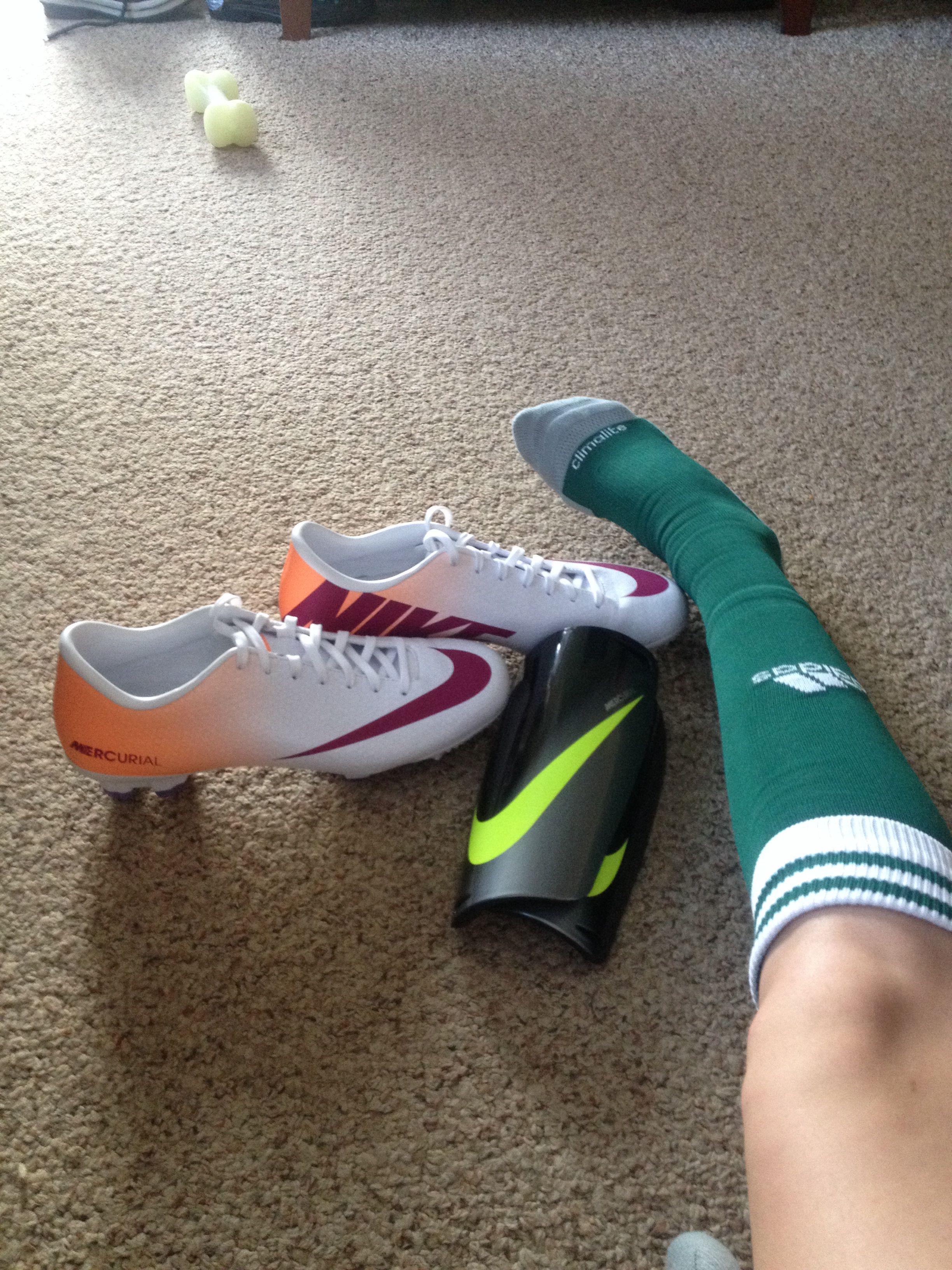 Awesome soccer gear. Nike mercurial cleats, nike shin guards, Adidas soccer  socks.