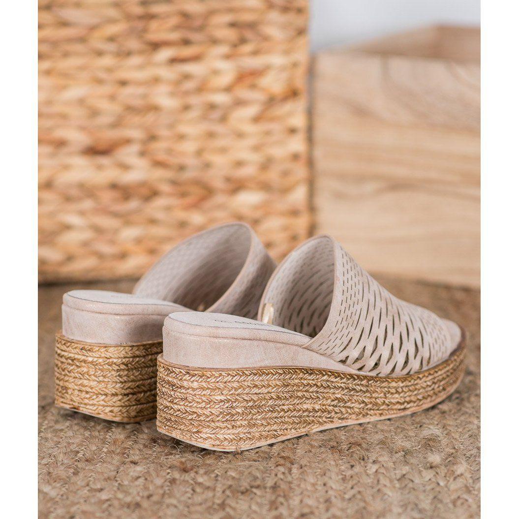 Goodin Azurowe Klapki Na Koturnie Brazowe Zolte Wedge Espadrille Shoes Espadrilles
