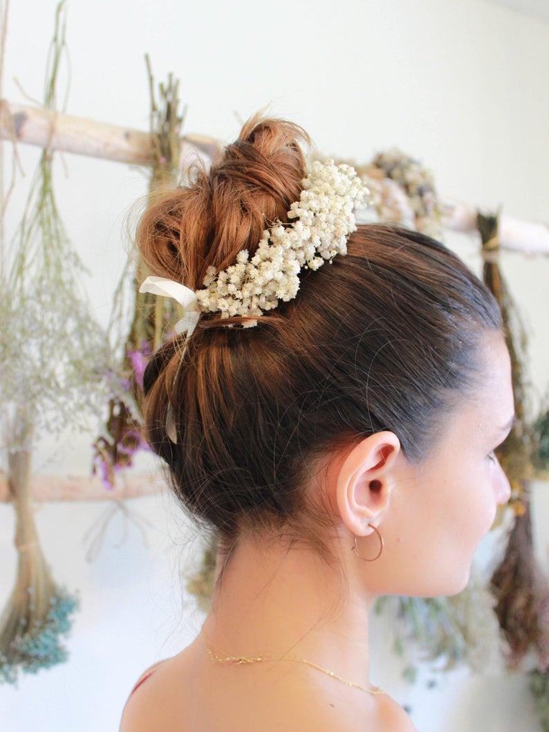 Dry Baby Breath Bun Updo Crown Ponytail Flower Girl Bun Wrap Etsy Flower Girl Hairstyles Bridesmaid Hair Medium Hair Styles