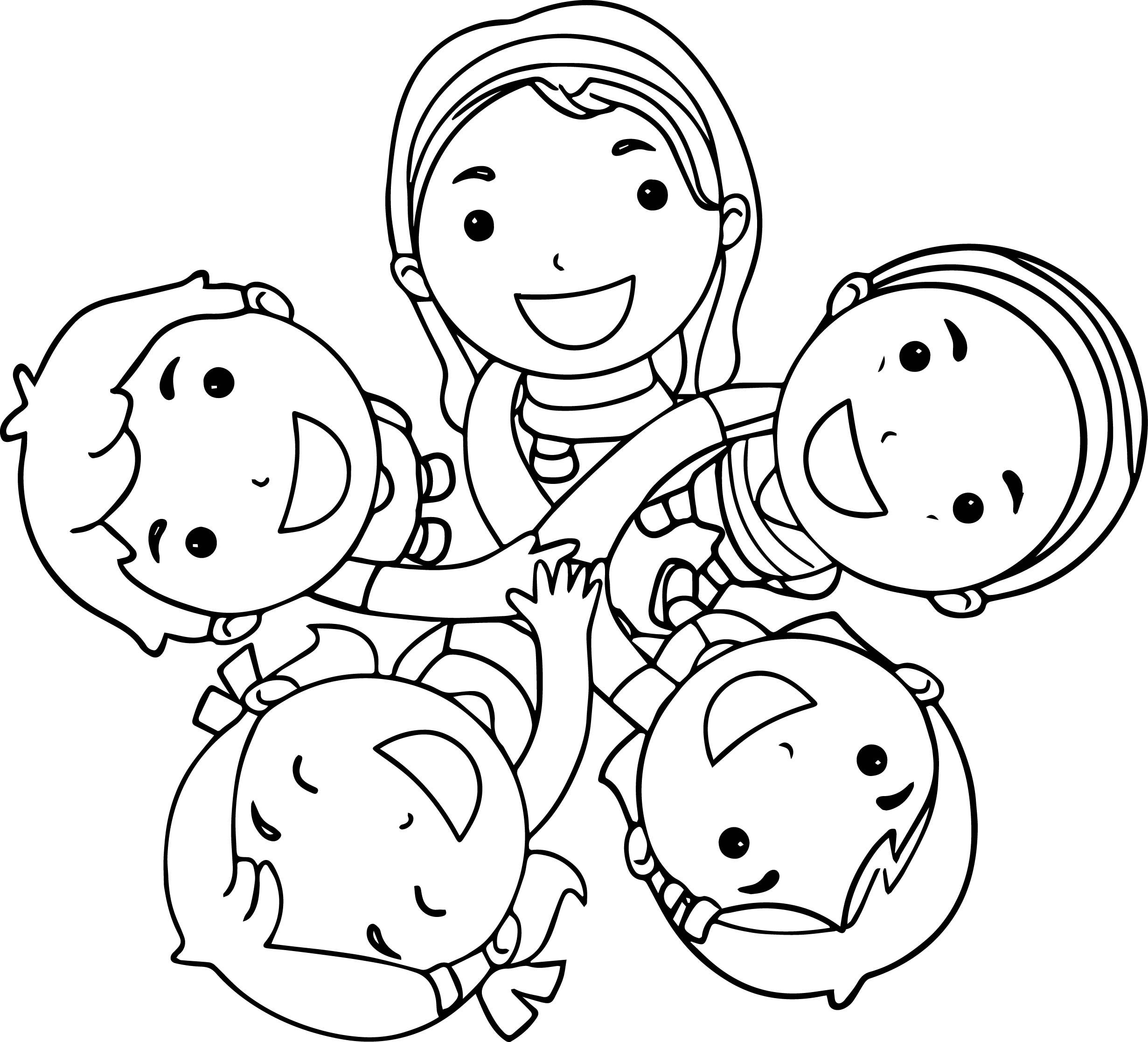 Cool Five Best Friends Coloring Page