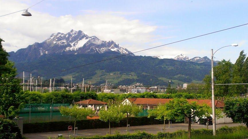 Lucern, Switzerland, looking at Mt. Pilatus.