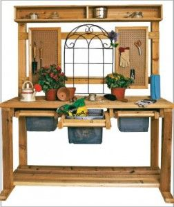 Love the look of this potting bench love the pull out bins for