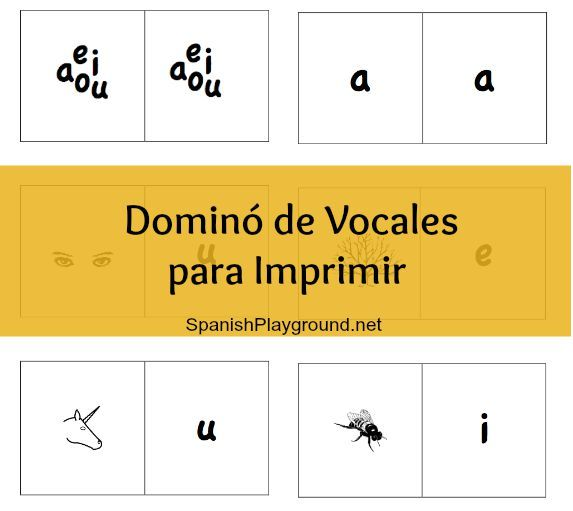 Kids match #spanishvowels to pictures in the #spanishgame +Printable+Spanish+Game +Dominoes+Vowels
