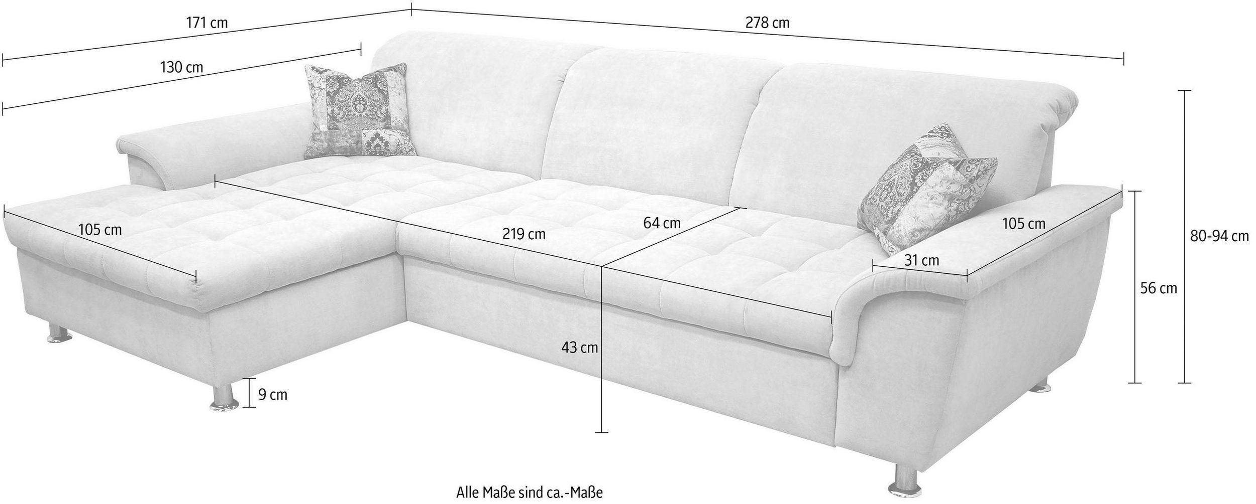 Domo Collection Ecksofa Wahlweise Mit Bettfunktion Und Kopfteilverstellung Online Kaufen Ecksofa Sofa Und Bett