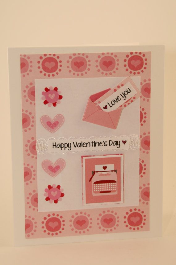 Pink hearts galore on this sweet Valentine's Day card. Pink love letters typed on a pink typewriter are sure to make this Valentine's perfect, right? You can buy it at our shop: CatieGraceCreations.etsy.com