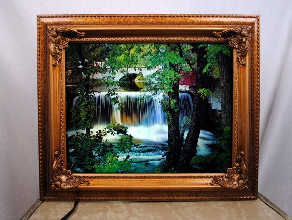 RARE 1970s Working Moving Light Up Waterfall Framed by RogueRetro ...