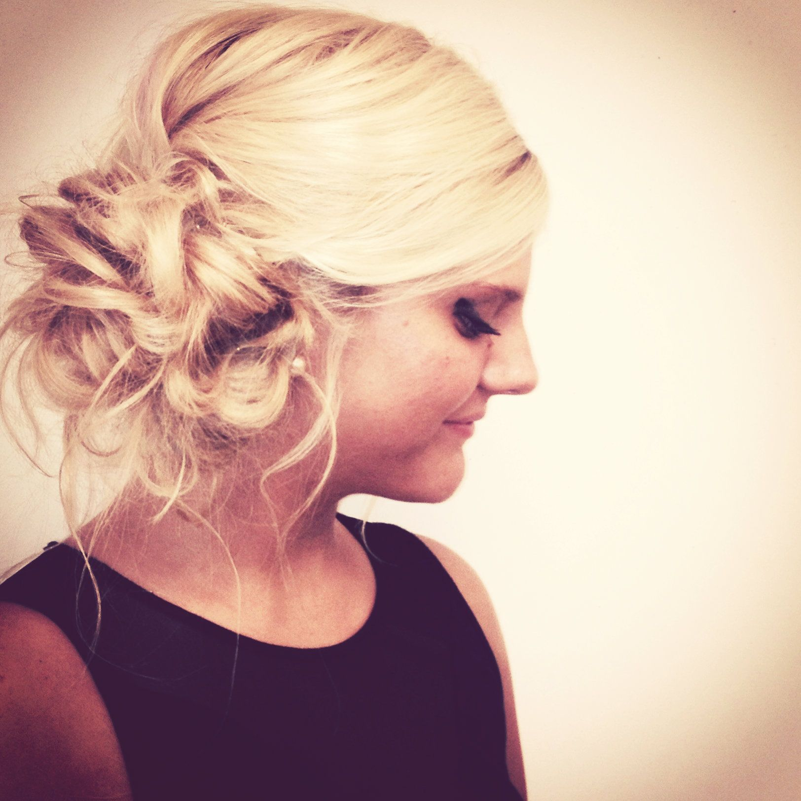 curly side updo   beauty school   prom hair, hair makeup