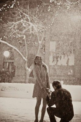 propose in the snow.