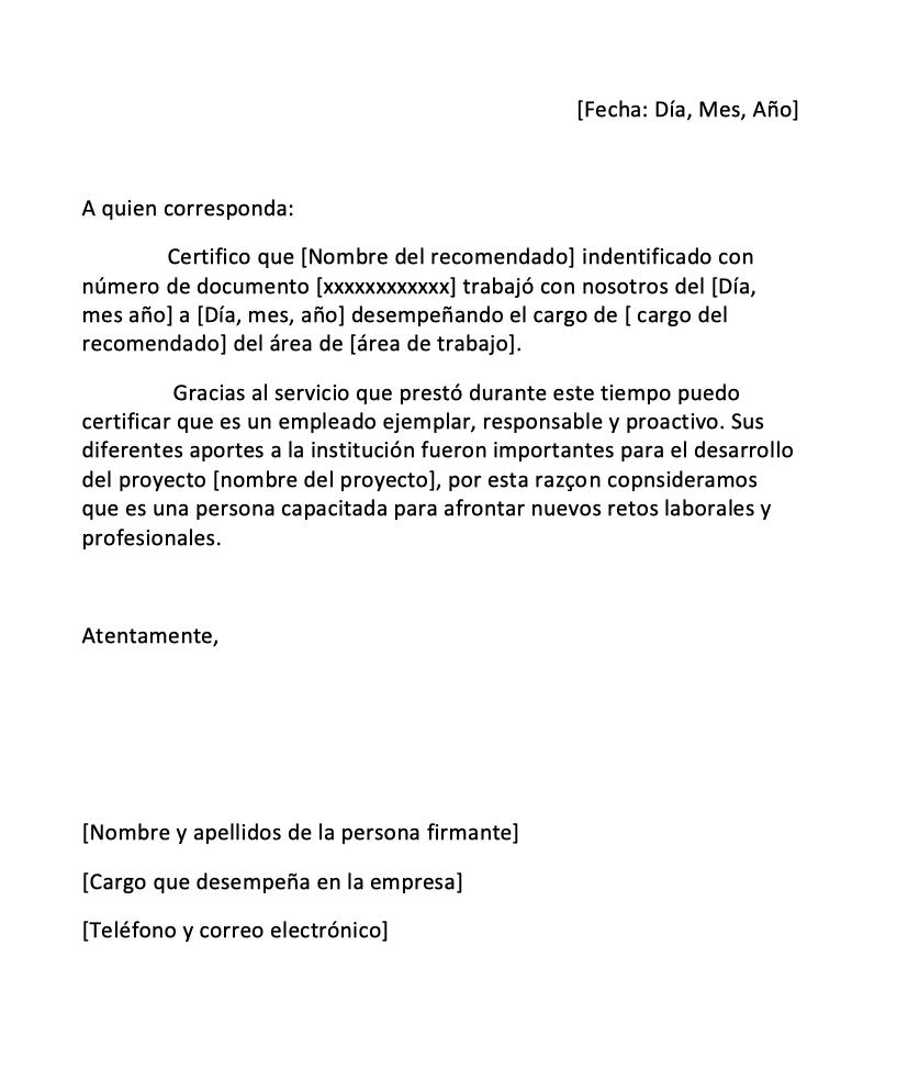 Descargar Carta De Recomendación Laboral Pdf Y Word Cartas De Recomendacion Ejemplo De Carta Carta De Renuncia