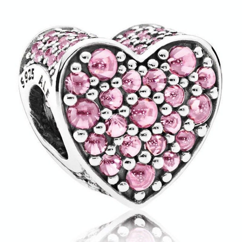 charm corazon rosa pandora