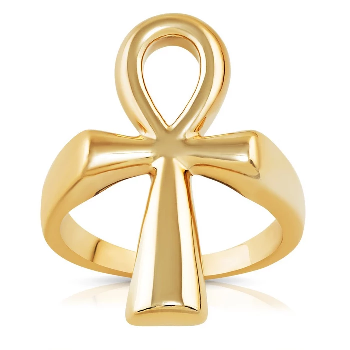 14k Yellow Gold Ankh Ring Gold Color Ring 14k Yellow Gold Yellow Gold