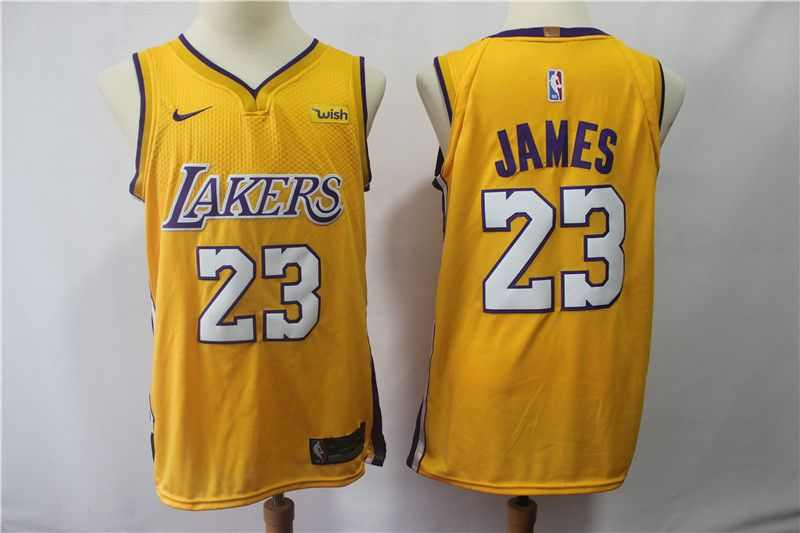 9e88685b14f Los Angeles Lakers   23 Lebron James 14 Brandon Ingram yellow Nike Swingman  Jersey