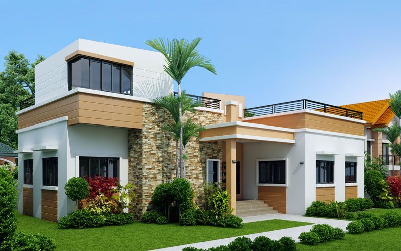Rey Four Bedroom One Storey With Roof Deck Shd 2015021 Pinoy Eplans House Roof Design Bungalow House Design Four Bedroom House Plans