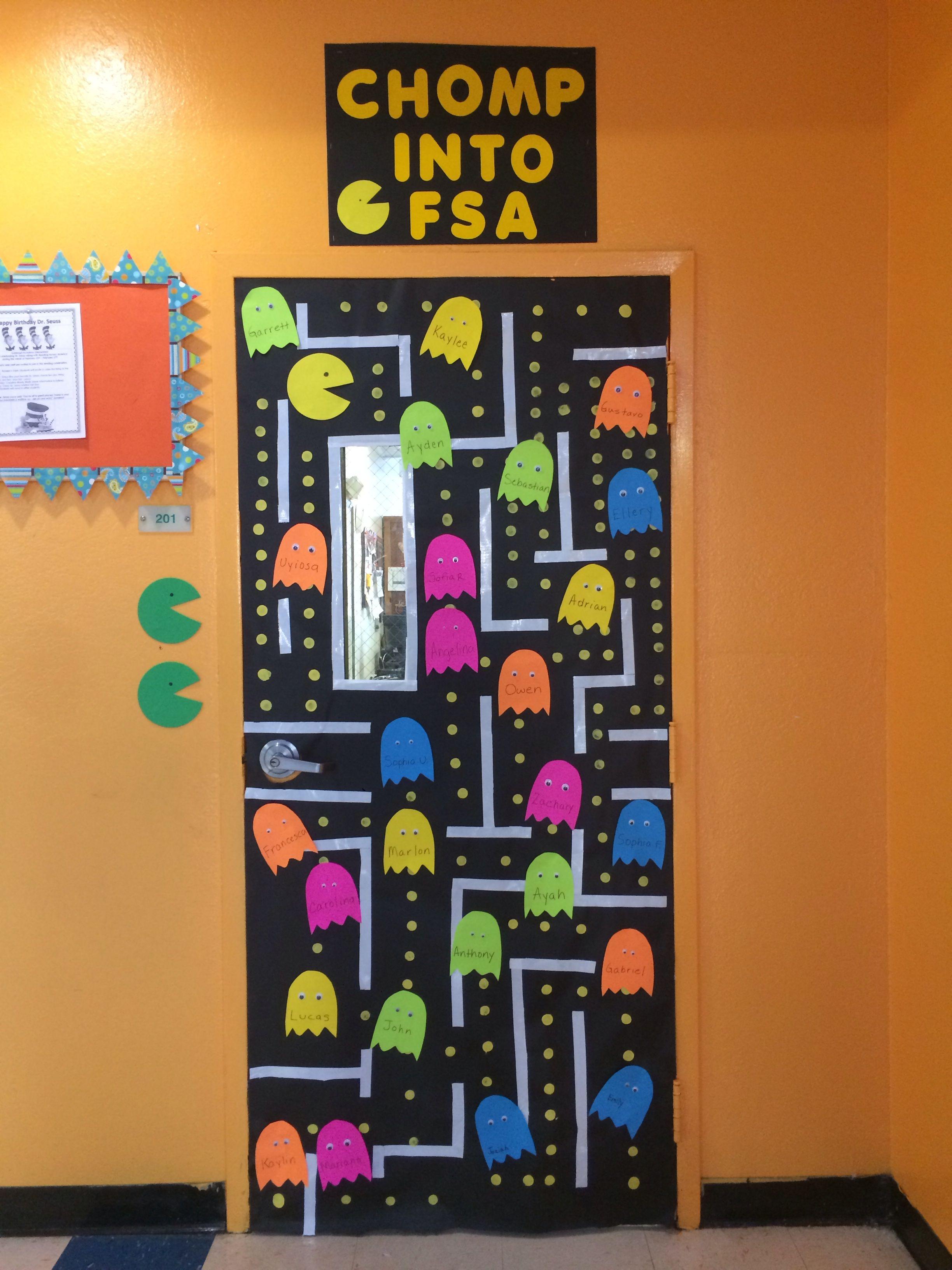 Classroom Design Games ~ State testing classroom door pacman video game doors i