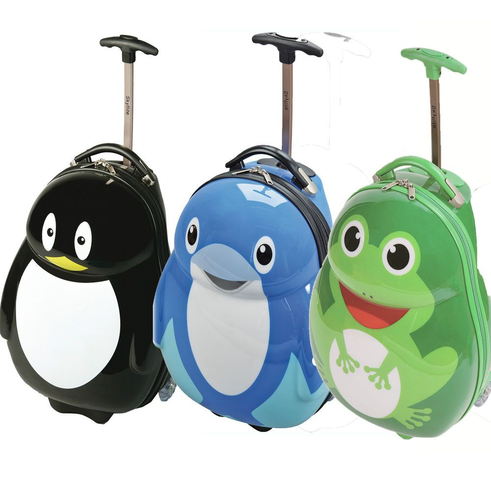 Kids boys girls child trolley wheeled bag hard case hand luggage ...