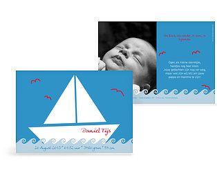 Geboortekaartje 'Zeilboot'