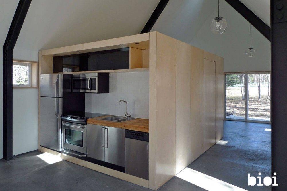 Warburg House / mechanics box in open floor plan