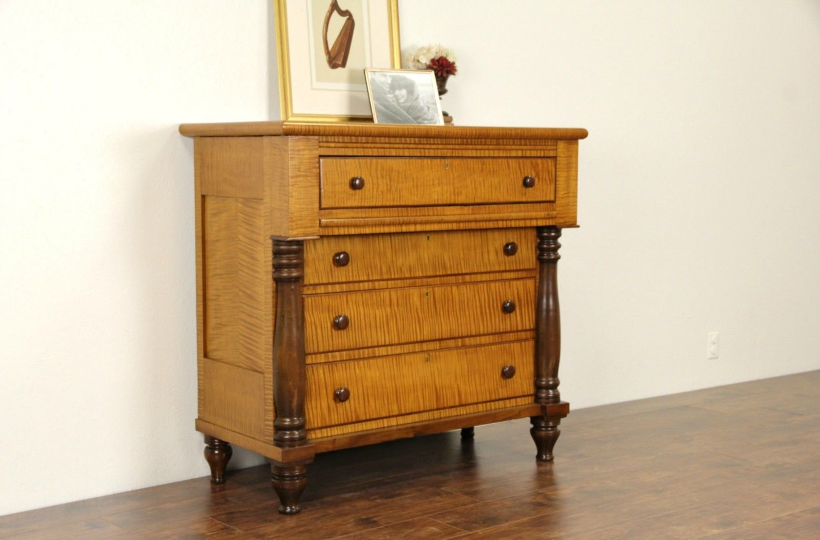 Tiger Curly Maple 1830 s American Empire Chest or Dresser
