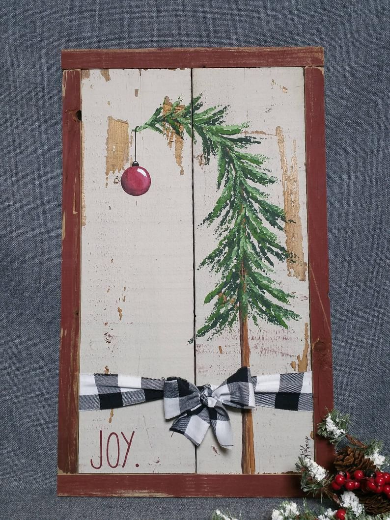 Photo of Christmas tree decor, Shabby Farmhouse Christmas, plaid bow, black and white, joy, Vintage Christmas, barn wood, Pallet Art, Rustic & Shabby
