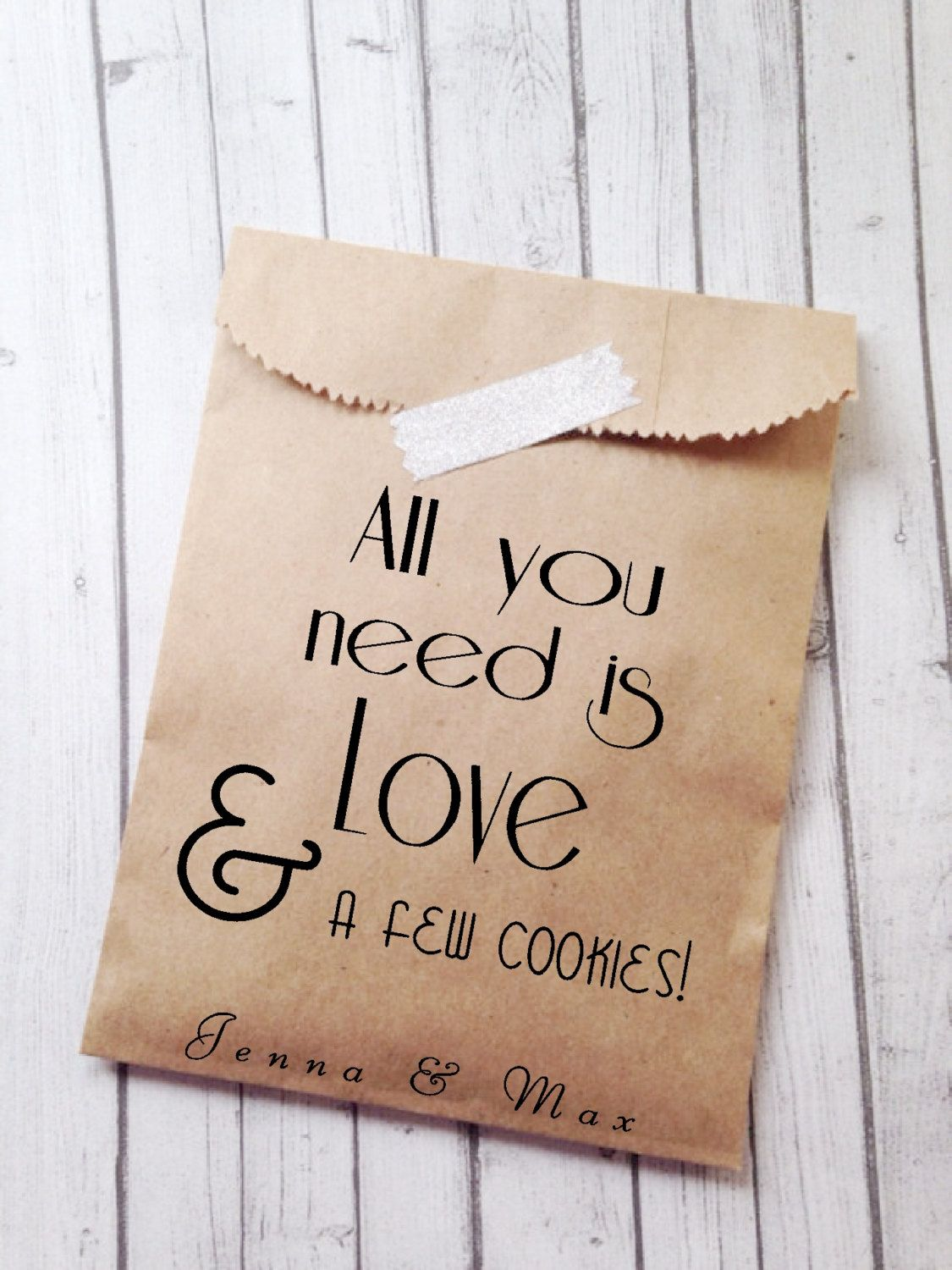 Custom Wedding Favor Bags Trendy Modern Personalized Unique Brown Paper Bridal Rustic Recycled Candy Buffet