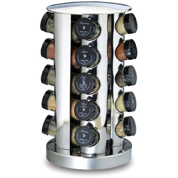 Kamenstein Grey Group 20-Jar Stainless Steel Revolving Spice Rack ($40) ❤ liked…