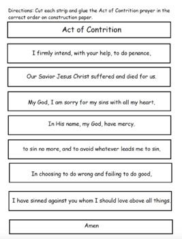 image regarding Act of Contrition Prayer Printable known as Pin upon CCD