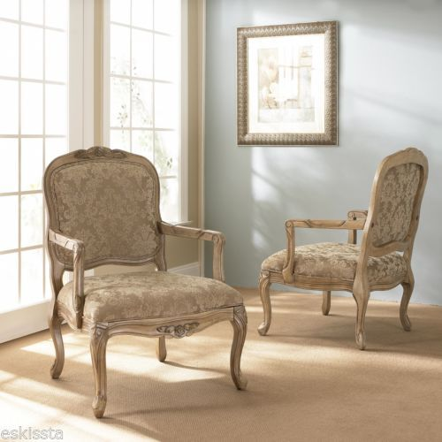 Klaussner Lancaster Antique French Country White Damask Accent Chairs 4 Living Room