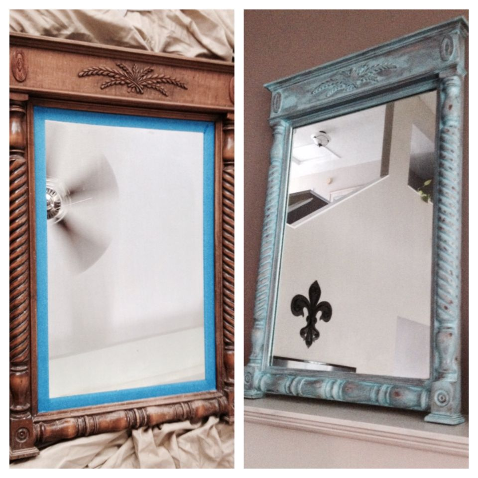 My little DiY project. A mirror I bought from Facebook buy sell trade, can of turquoise paint, sanded it down and some stain on top;) whala