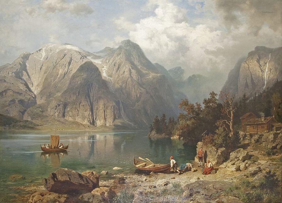 August Wilhelm Leu 1819 1897 Die Ausfahrt l Auf Lwd
