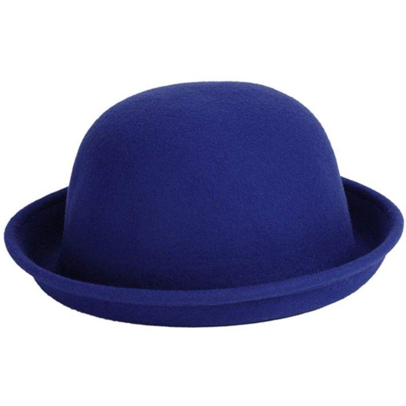 #Women\'s#Roll-up#Brim#Bowler#Hat#Wool#Felt#Fedora#Hat#Panama#Jazz#Hat#Navyblue#CA1833HD7TG
